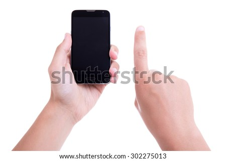male hands using mobile smart phone with blank screen isolated on white background - stock photo