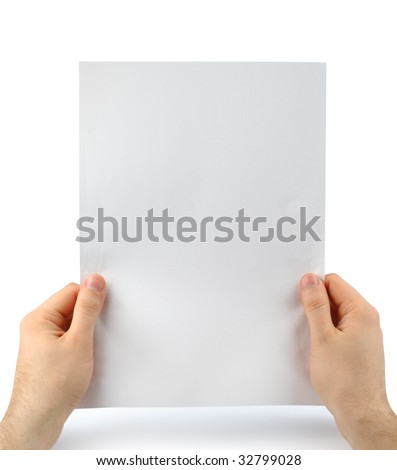 Male hands with clean sheet of paper isolated with clipping path over white - stock photo