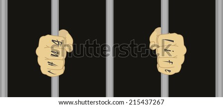 Male hands with Thug Life tattoo holding prison bars  - stock photo