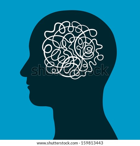 Male head with a convoluted entangled brain of a continuous intertwined cord depicting the complexity of human intelligence, thought and creativity, conceptual vector illustration - stock photo