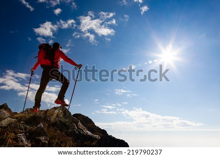 Male hiker standing on the top of a mountain. Summer day with shiny sun. Rear view. - stock photo