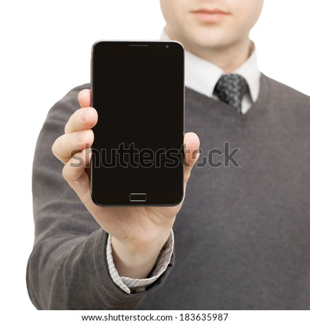 Male holding mobile smart phone in right hand - 1 to 1 ratio - stock photo