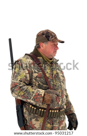 Male hunter in camouflage looking for his target or prey.Isolated on white background - stock photo