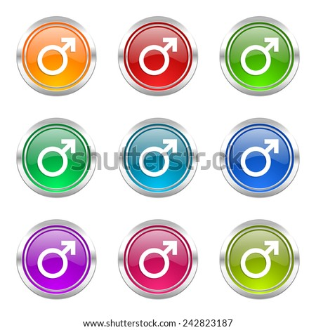 male icons set male gender sign  - stock photo