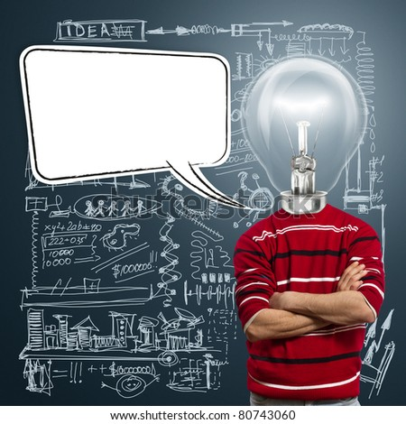 male in red and lamp-head with speech bubble, have got an idea - stock photo