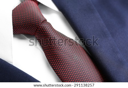 Male jacket with shirt and tie close up - stock photo