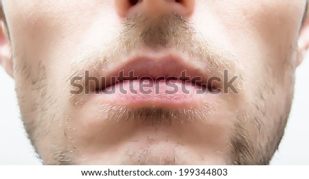 Male lips - stock photo