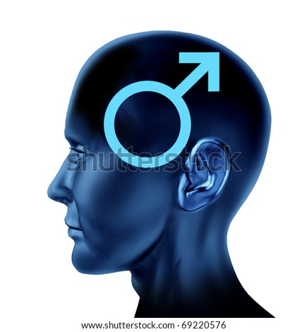 male man symbol Brain head mind idea intelligence isolated issues medical - stock photo