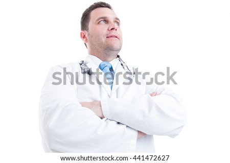 Male medic or doctor posing low angle like hero shot and powerful isolated on white background with copy space - stock photo