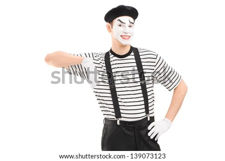 Male mime artist posing isolated against white background - stock photo