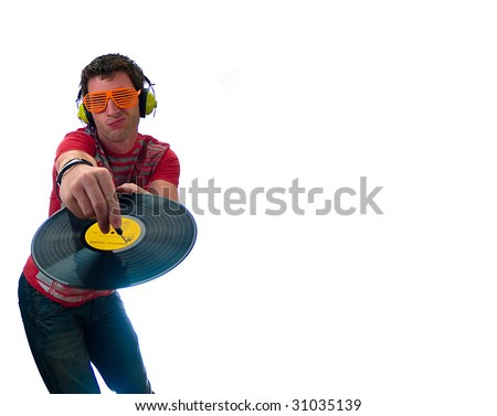 Male model Playing a record High tech - stock photo