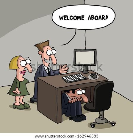 Male new office worker cartoon gag - stock photo