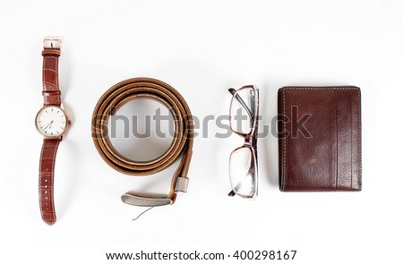 male objects. watch,belt and the wallet - stock photo