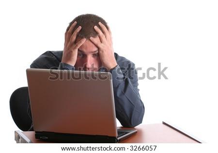 Male office guy in shock - stock photo