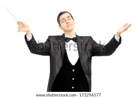 Male orchestra conductor directing with baton isolated on white background - stock photo