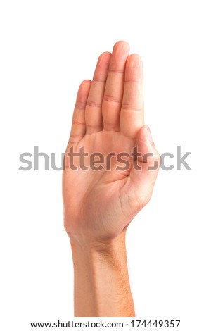 Male palm hand gesture, isolated on a white background - stock photo