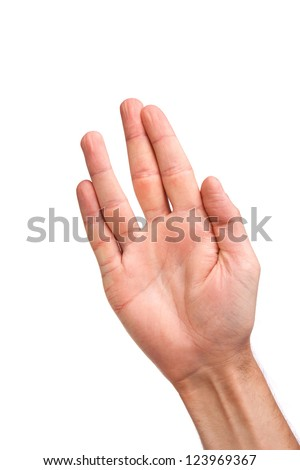 Male palm hand vulcan gesture, isolated on a white background - stock photo
