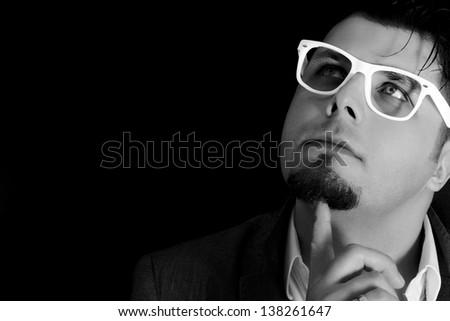 Male portrait in black and white - stock photo