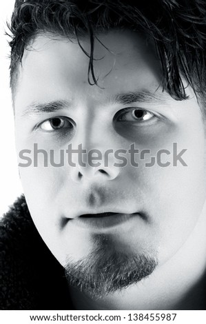 Male portrait on black and white - stock photo