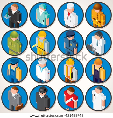 Male Profession. 3D Avatars. Icons with Various Types of Professional Peoples and Workers. Isometric Flat Icon Set - stock photo