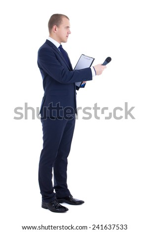 male reporter with microphone and clipboard isolated on white background - stock photo