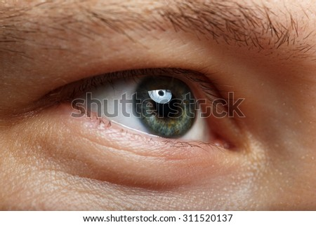 Male right green eye extreme closeup. Oculist and perfect vision concept - stock photo