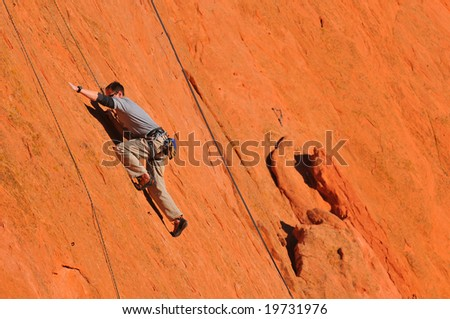 Male Rock Climber at Garden of the Gods - stock photo