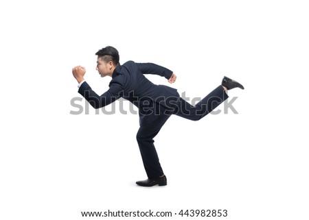 Male runner. Business men running fast over white background - stock photo