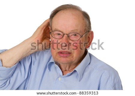 Male senior with hand on ear  isolated on white background. - stock photo