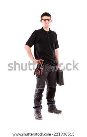 Male serviceman with toolbox. - stock photo