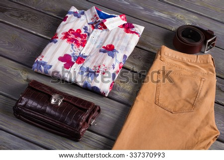 Male set of spring clothing and accessories. - stock photo