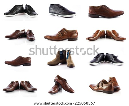 Male shoes collection. men shoes over white background - stock photo