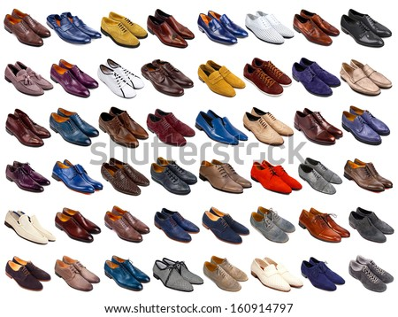 Male shoes collection on white background - stock photo