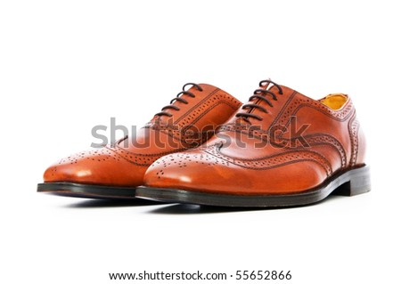 Male shoes isolated on the white background - stock photo