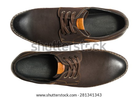 Male shoes. Isolated on white background. top view - stock photo