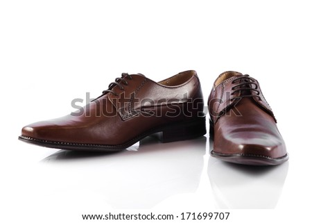 Male shoes.  man's  shoes isolated on white background - stock photo