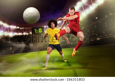 male soccer or football  player on the field - stock photo