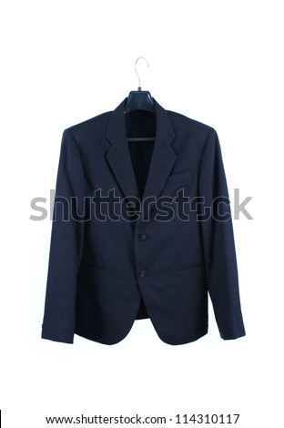 Male suit without tie isolated on the white - stock photo