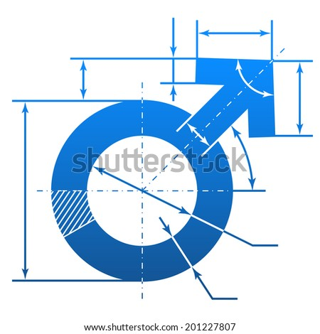Male symbol with dimension lines. Element of blueprint drawing in shape of man sign. Qualitative image about man biology and health, male psychology (father, son), sex differences, gender role, etc - stock photo