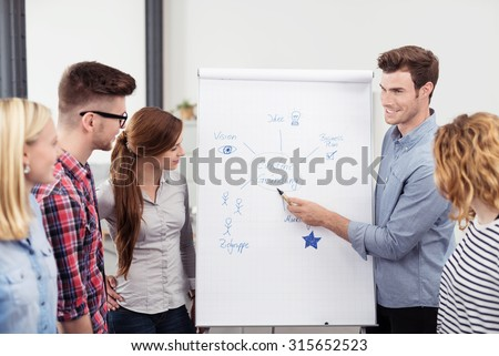 Male Team Leader Explaining a Diagram on a Poster Paper to Colleagues While Having a Meeting Inside the Office - stock photo