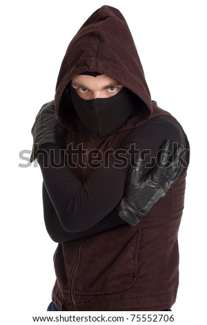 male thief in dark clothes, mask and hood - stock photo