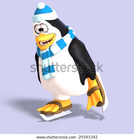 male toon enguin with hat and scraf and clipping path - stock photo