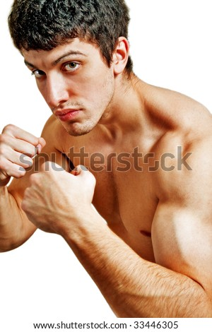 Male tough boxer ready for a fight - stock photo