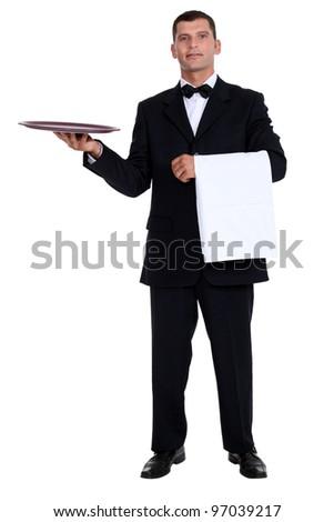 Male waiter holding tray - stock photo