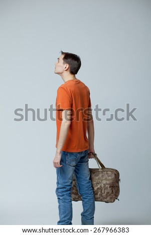 male with bag - stock photo