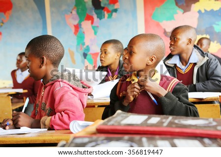 Malealea, Lesotho - August, 27th, 2015: local school; students in the class. - stock photo