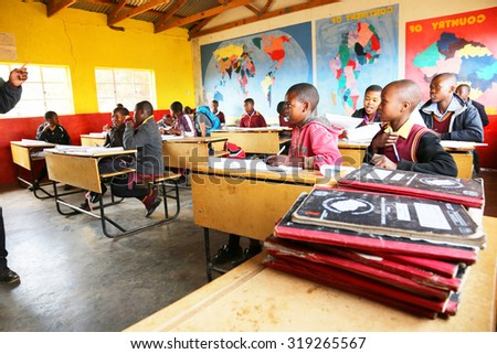 Malealea, Lesotho - August, 27th, 2015: local school; students in the classroom. - stock photo
