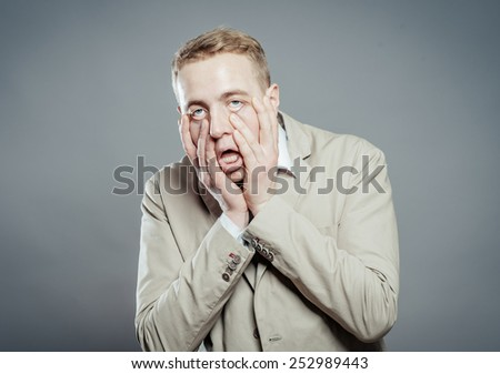Males sore headache, tired man - stock photo