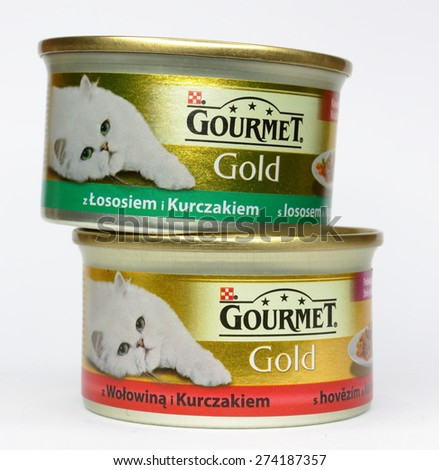 MALESICE, CZECH REPUBLIC - APRIL 30, 2015: Gourmet Gold cat food made by Purina. - stock photo