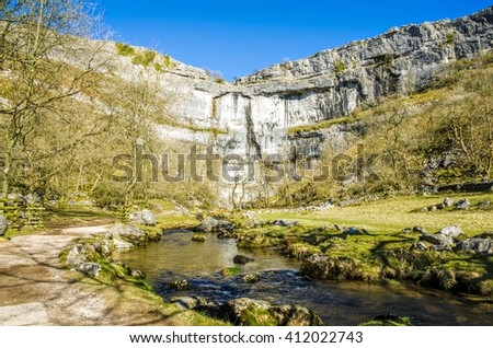 Malham Cove, North Yorkshire, England - stock photo
